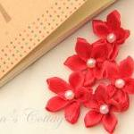 Red Satin Ribbon Flower - H..
