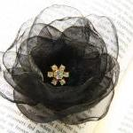 Black Organza Flower Hair C..