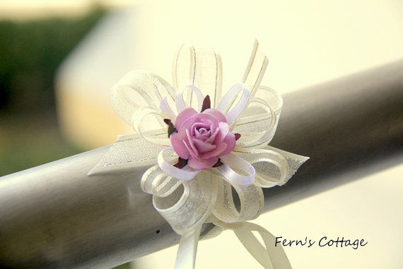 Wedding Hand Wrist Corsage Set - Mulberry Paper Rose Wedding Hand Wrist - 5 pcs
