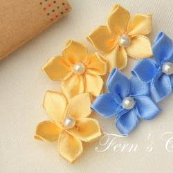 Satin Ribbon Flower Appliques - 10 PCS