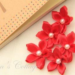 Red Satin Ribbon Flower - Handmade - Wedding Decoration - Applique -10 PCS