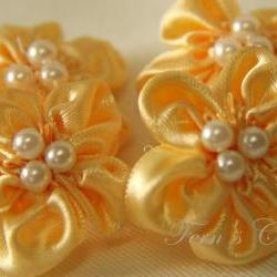 Handmade Satin Ribbon Flowers - Available in different colour - Wedding Decoration - 10 pcs 