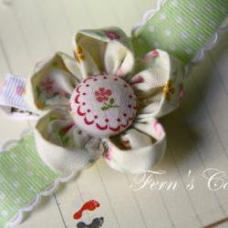 Handmade Fabric Flower Hair Clip - Wedding Hair Accessories - For your cute flower girl